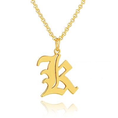 Custom 18k Gold Plated Silver Old English Initial Necklace - Birthday Gifts Mother's Day Gifts