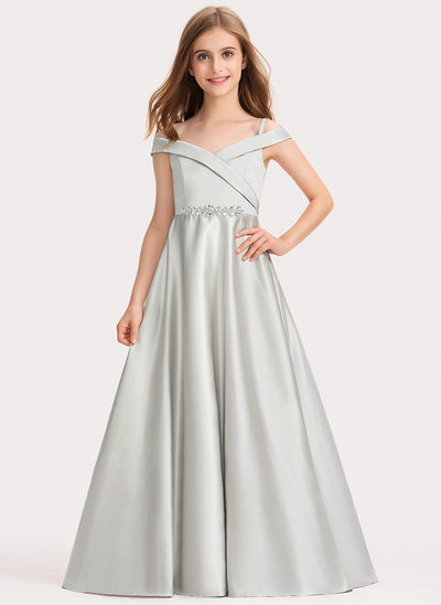 Ball-Gown/Princess Floor-length Flower Girl Dress - Satin Sleeveless Off-the-Shoulder