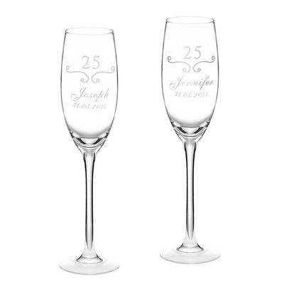 Groom Gifts - Personalized Modern Glass Champagne Flutes
