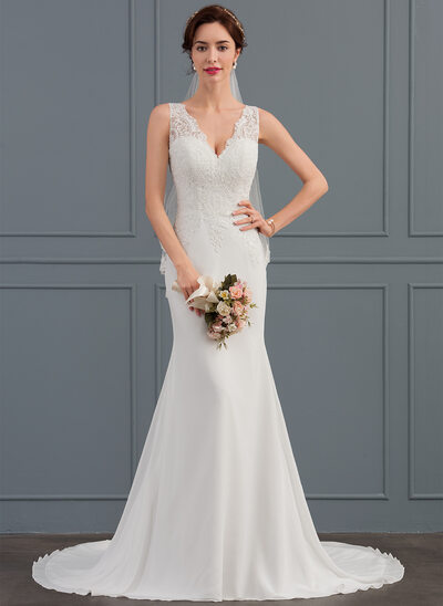 Trumpet Mermaid V Neck Court Train Chiffon Wedding Dress