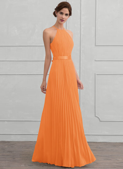 A-Line Scoop Neck Floor-Length Chiffon Bridesmaid Dress With Bow(s) Pleated