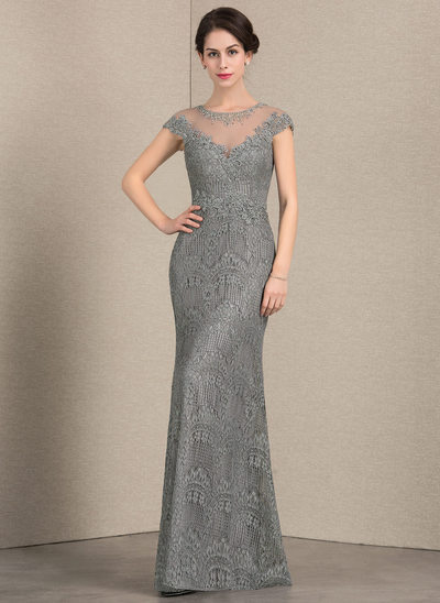 Sheath/Column Scoop Neck Floor-Length Lace Evening Dress With Beading Sequins