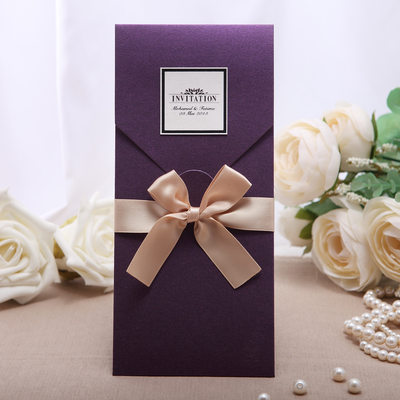 Personalized Vintage Style Wrap & Pocket Invitation Cards With Ribbons