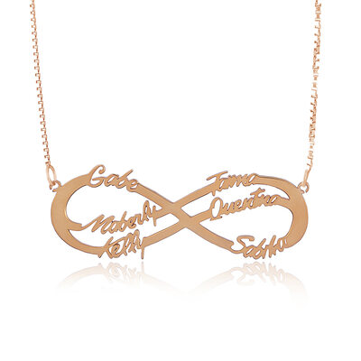 Custom 18k Rose Gold Plated Silver Hollow Carved Six Infinity Name Necklace - Birthday Gifts Mother's Day Gifts