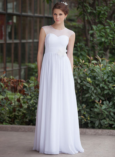 A-Line/Princess Scoop Neck Floor-Length Chiffon Tulle Wedding Dress With Ruffle Flower(s)