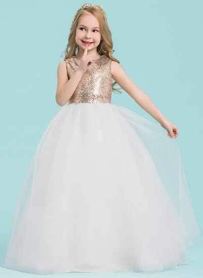 Plesové Délka na zem Flower Girl Dress - Tyl/Sequined Bez rukávů Scoop Neck