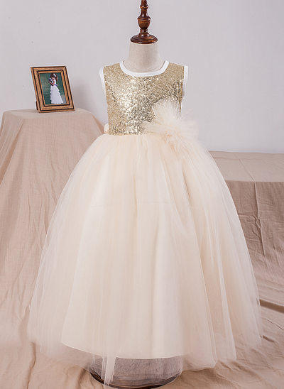 Ball Gown Ankle-length Flower Girl Dress - Tulle/Sequined Sleeveless Scoop Neck With Sequins/Bow(s)