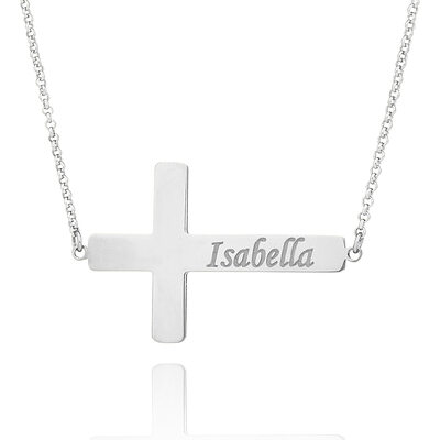Christmas Gifts For Her - Custom Sterling Silver Religious Cross Meaning Engraved Necklace