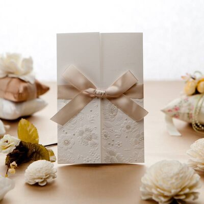 Personalized Tri-Fold Invitation Cards With Ribbons (Set of 50)