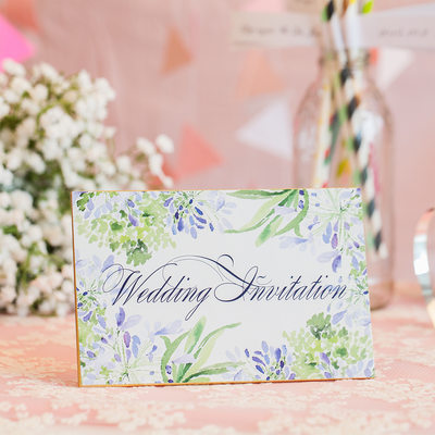 Floral Style Top Fold Invitation Cards (Set of 10)