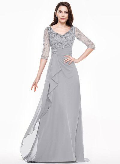 A-Line/Princess V-neck Sweep Train Mother of the Bride Dress With Lace Beading Sequins Cascading Ruffles