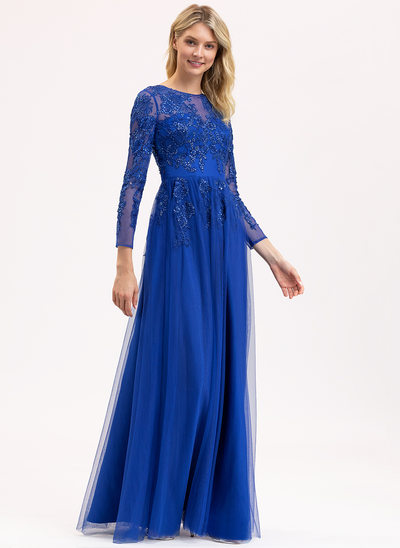 A-Line Scoop Neck Floor-Length Tulle Lace Evening Dress With Sequins