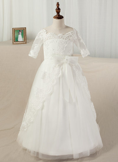 A-Line/Princess Floor-length Pageant Dresses - Satin/Lace 1/2 Sleeves Bateau With Appliques