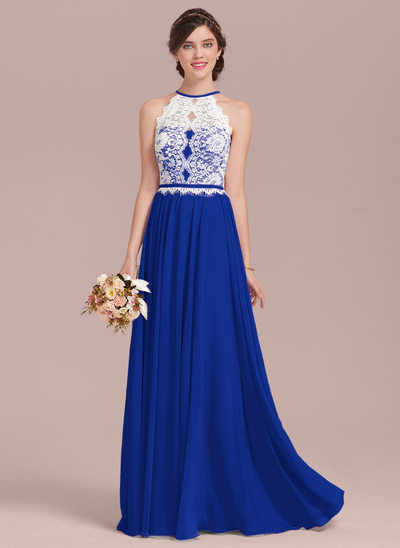 A Line Princess Scoop Neck Floor Length Chiffon Lace Bridesmaid Dress