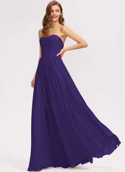 A-Line Strapless Off-the-Shoulder Floor-Length Chiffon Bridesmaid Dress With Ruffle Bow(s)