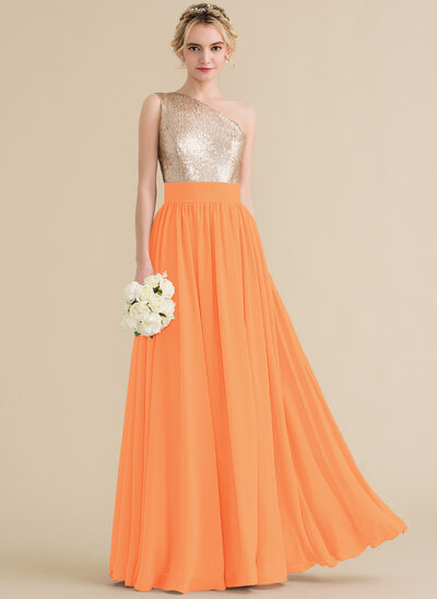 A-Line/Princess One-Shoulder Floor-Length Chiffon Sequined Bridesmaid Dress