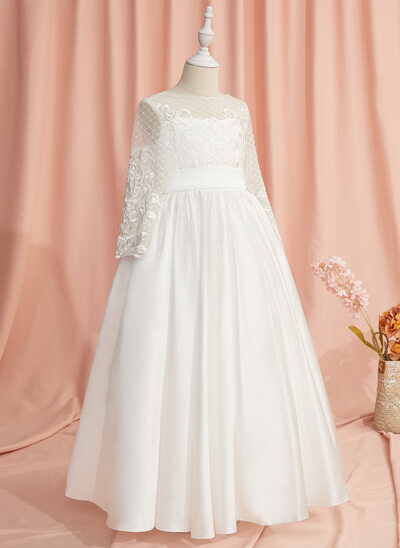 Ball-Gown/Princess Floor-length Flower Girl Dress - Satin Long Sleeves Scoop Neck With Lace/V Back