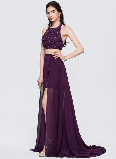 A-Line/Princess Halter Sweep Train Chiffon Prom Dresses With Beading Split Front