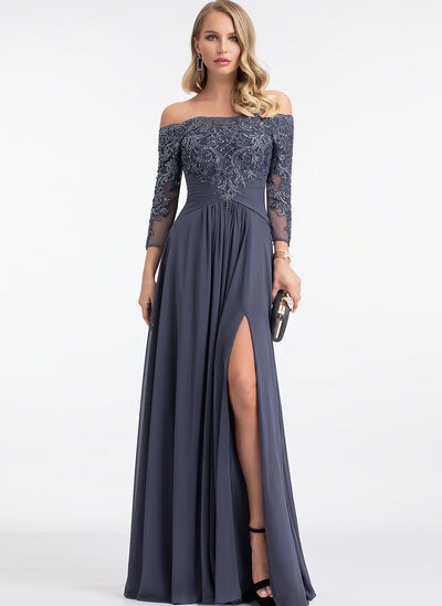 A-Line Off-the-Shoulder Floor-Length Chiffon Prom Dresses With Beading Sequins Split Front
