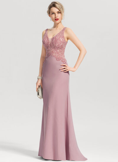 Sheath/Column V-neck Sweep Train Stretch Crepe Prom Dresses With Beading Sequins