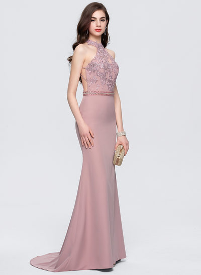 Trumpet/Mermaid Scoop Neck Sweep Train Satin Prom Dresses With Lace Beading