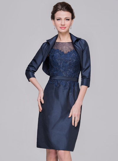 Sheath/Column Scoop Neck Knee-Length Taffeta Mother of the Bride Dress With Appliques Lace