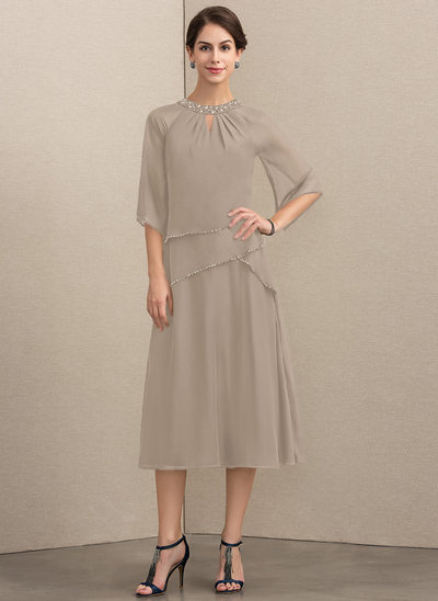 A-Line/Princess Scoop Neck Tea-Length Chiffon Mother of the Bride Dress With Beading Sequins