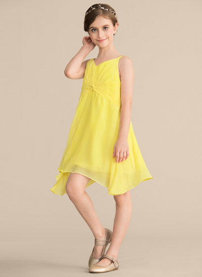 A-Line V-neck Knee-Length Chiffon Junior Bridesmaid Dress With Ruffle