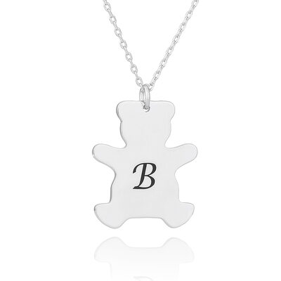 Custom Silver Engraving/Engraved Bear Initial Necklace - Christmas Gifts
