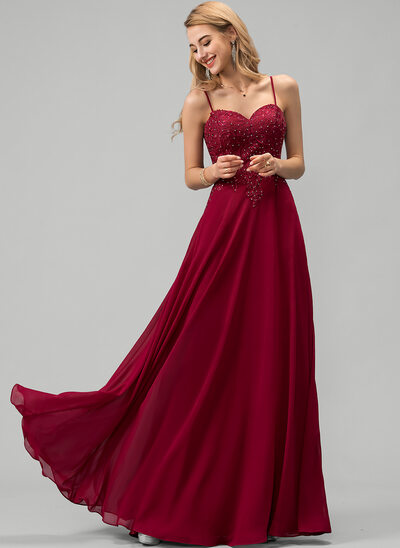 A-Line Sweetheart Floor-Length Chiffon Evening Dress With Lace Beading