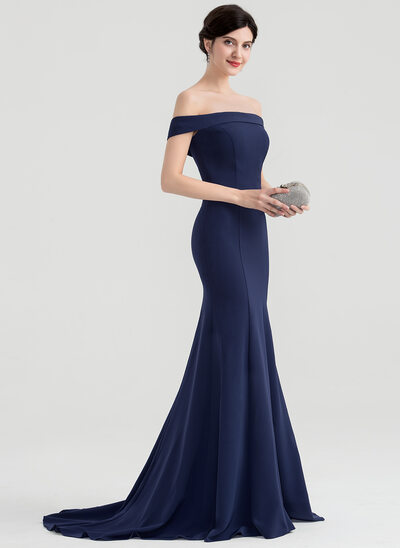 Trumpet/Mermaid Off-the-Shoulder Sweep Train Stretch Crepe Evening Dress