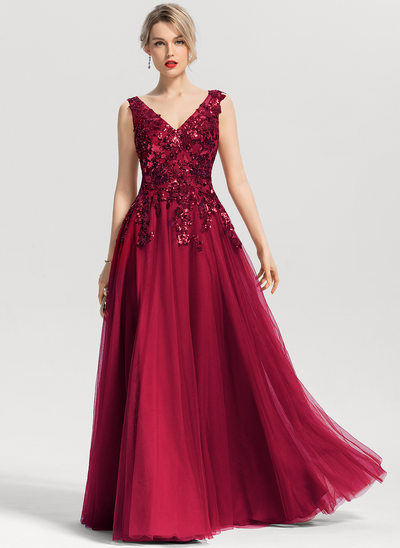 A-Line/Princess V-neck Floor-Length Tulle Evening Dress With Sequins