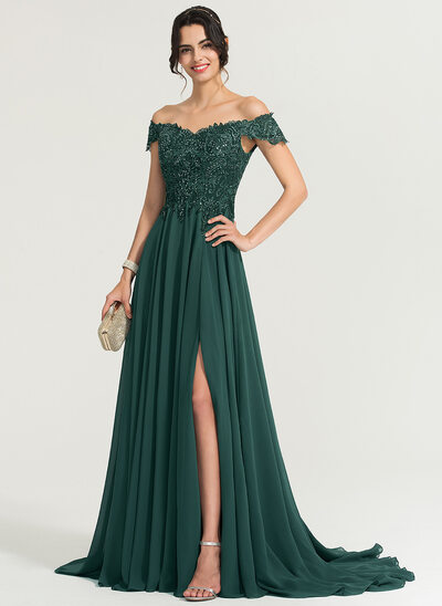 389997135eeaa A-Line/Princess Off-the-Shoulder Sweep Train Chiffon Evening Dress With