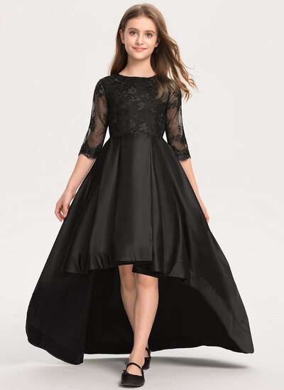 A-Line Asymmetrical Flower Girl Dress - Satin/Lace 1/2 Sleeves Scoop Neck