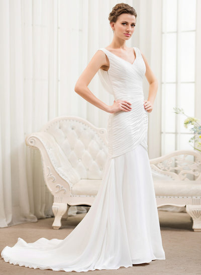 Trumpet/Mermaid V-neck Court Train Chiffon Wedding Dress With Ruffle Lace Beading Sequins