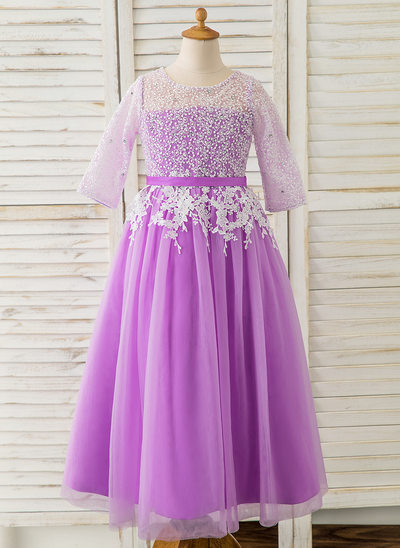 A-Line Ankle-length Flower Girl Dress - Tulle/Lace 3/4 Sleeves Scoop Neck