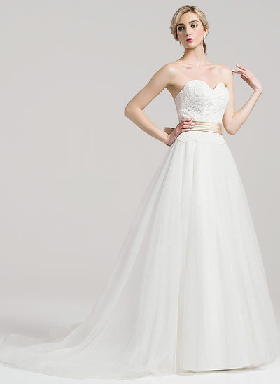 Ball-Gown Sweetheart Court Train Tulle Wedding Dress With Ruffle Sash Bow(s)
