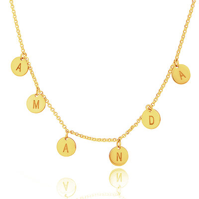 Custom 18k Gold Plated Silver Letter Initial Necklace Circle Necklace