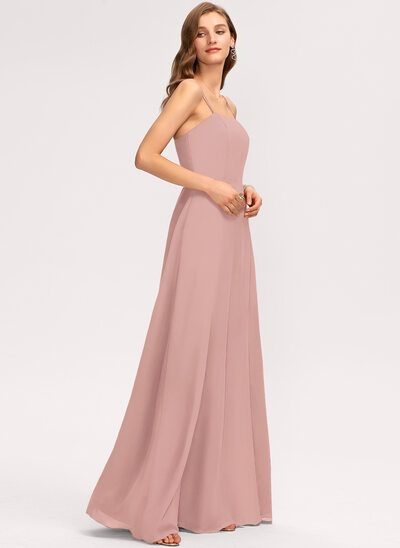 A-Line Square Neckline Floor-Length Chiffon Prom Dresses With Split Front