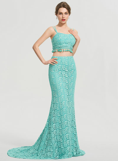 Trumpet/Mermaid Square Neckline Sweep Train Lace Prom Dresses
