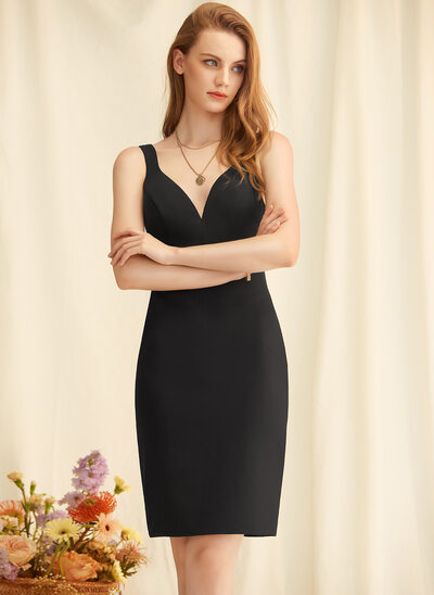 Sheath/Column V-neck Stretch Crepe Cocktail Dress