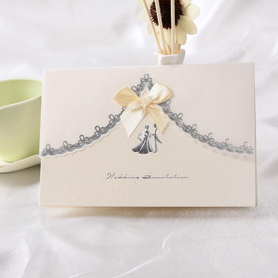 Bride & Groom Style Top Fold Invitation Cards With Ribbons