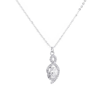 Ladies' Elegant S925 Sliver With Pear Cubic Zirconia Necklaces For Bride/For Bridesmaid/For Mother