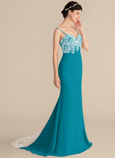 Trumpet/Mermaid Sweetheart Sweep Train Chiffon Lace Bridesmaid Dress