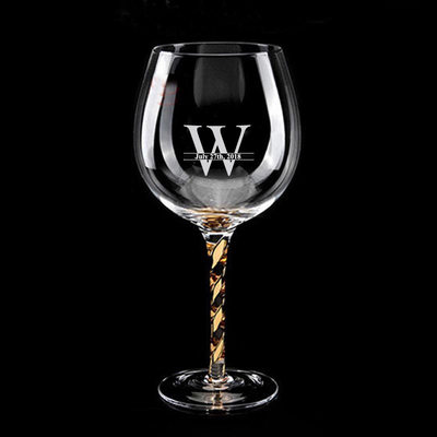 Groom Gifts - Personalized Modern Glass Wine Glass