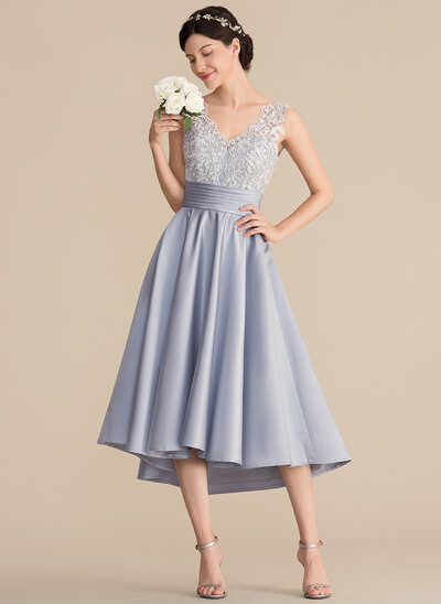 A-Line V-neck Asymmetrical Satin Lace Bridesmaid Dress With Ruffle