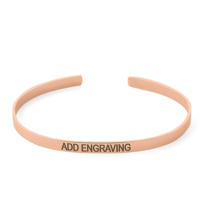 Custom 18K Rose Gold Plated Delicate Chain Bangles & Cuffs - Christmas Gifts For Her