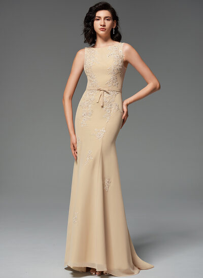 Trumpet/Mermaid Scoop Neck Sweep Train Chiffon Evening Dress With Beading Bow(s)