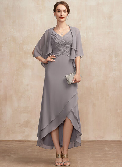 A-Line V-neck Asymmetrical Chiffon Mother of the Bride Dress With Ruffle