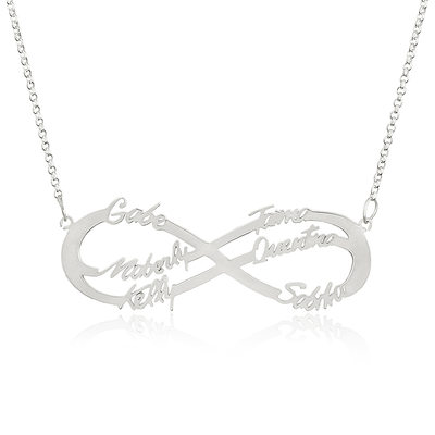 Custom Sterling Silver Infinity Family Six Name Necklace Infinity Name Necklace With Kids Names - Birthday Gifts Mother's Day Gifts